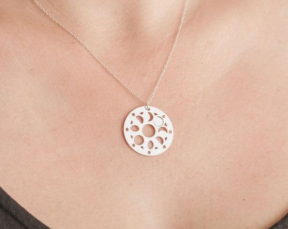 Tiny Custom Moon Phase Necklace