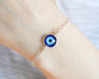 Evil Eye Bracelet, Evil Eye Charm, Evil Eye Jewelry, Protection Bracelet, Friendship Bracelet, Best Friend Bracelet, Dainty Bracelet