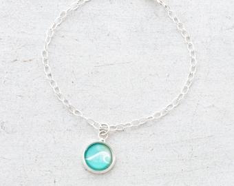 Wave Bracelet, Nautical Bracelet, Ocean Charm Bracelet, Beach Bracelet, Ocean Lover, Nautical Gift, Silver Bracelet, Chain Bracelet