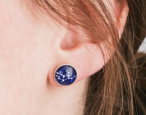 Personalised Sterling Silver Zodiac Stud Earrings