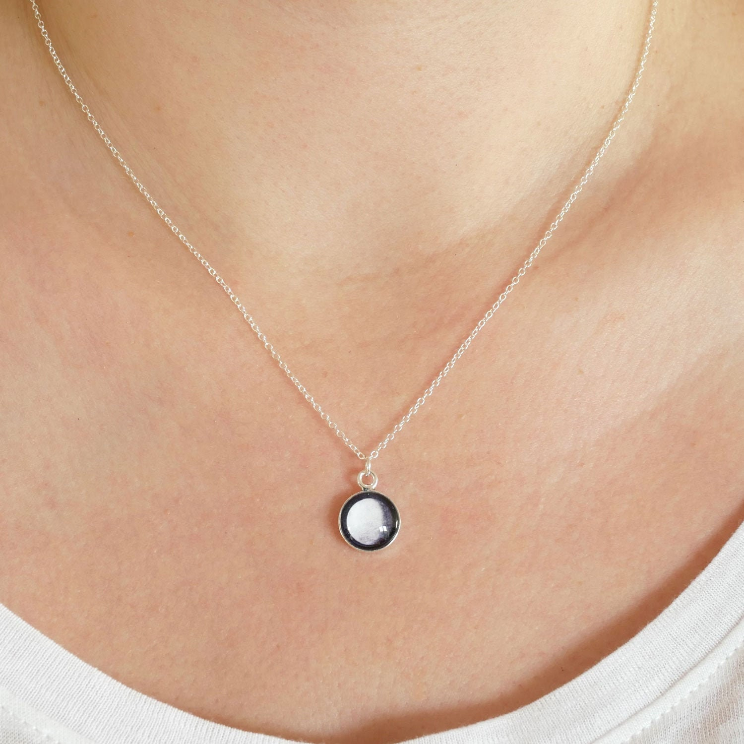 Tiny Sterling Silver Custom Moon Phase Necklace