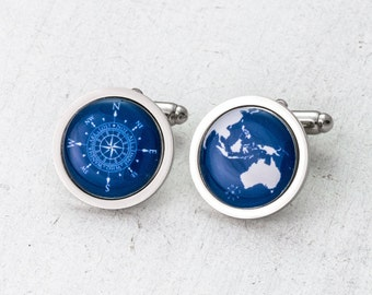 Compass Cufflinks, World Globe, Globe Cufflinks, Wanderlust Cufflinks, Custom Globe, Travel Gift, Gift for Him, Groom Cufflinks