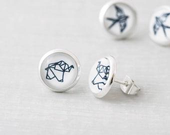 Animal Earrings, Origami Earrings, Geometric Jewelry, Cat Earrings, Elephant Earrings, Geometric Studs, Dog Earrings, Turtle Earrings
