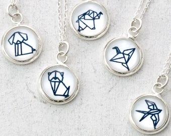 Origami Animal Necklace, Animal Jewelry, Elephant Necklace, Cat Necklace, Fox Necklace, Swallow Necklace, Dainty Necklace, Origami Necklace
