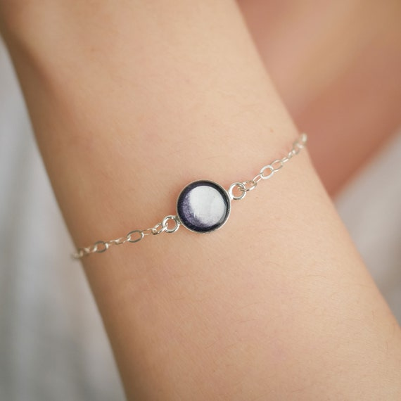Personalised Sterling Silver Moon Phase Bracelet