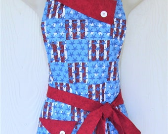 94d920b8cd5 American Flag Apron with Red White and Blue Stars and Stripes