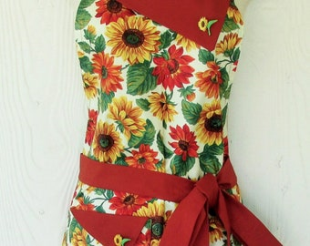 Sunflower Apron for Women, Cute Retro Apron with Pockets, Garden Apron, KitschNStyleAprons