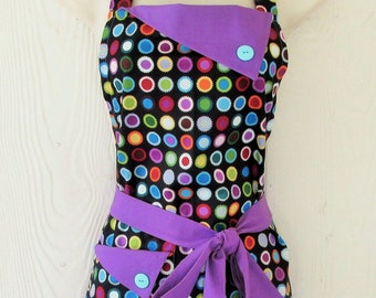 a8d9270ca75 Retro Apron for Women, Purple and Black Custom Apron, Polka Dots,  KitschNStyleAprons
