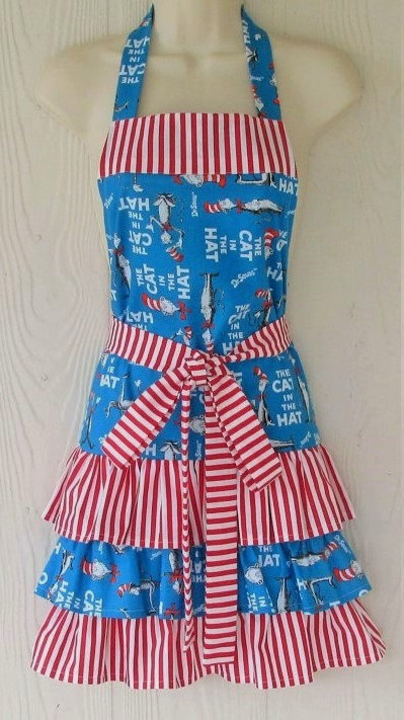 Cat in the Hat Apron Dr Seuss Ruffled Full Apron Stripes image 0