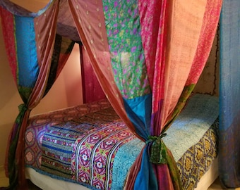 Boho Decor Canopy In Stock HippieWild Bed Bedroom India Fabric Silk Sari Saree Hippie Patchwork Curtain Bohemian Gypsy Hippy
