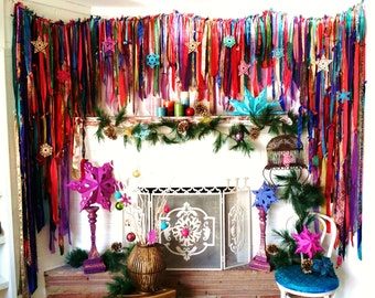 bohemian christmas decor boho made to order garland mantle bohemian chic holiday hippiewild valance bedroom made to order wall curtain