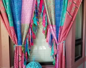 Bohemian Curtains Hippie Hippy HippieWild Boho Gypsy silk saree sari fringe multicolor patchwork panels india bohemian