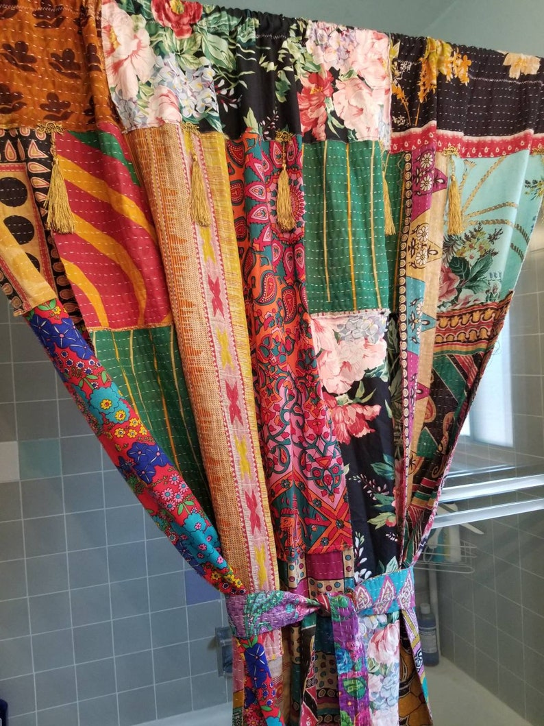 Shower Curtain Boho Patchwork Kantha Floral Paisley Bohemian