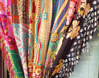 Bohemian Shower Curtain Room Divider Patchwork Kantha Floral Paisley Fabric  Fringe Gypsy Bohemian Closet Door Curtain