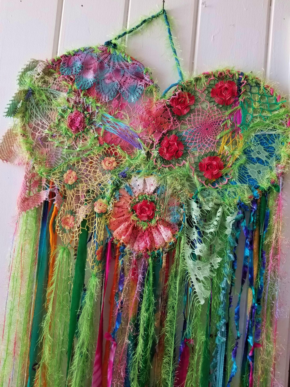 Image of: Large Dreamcatcher Wall Hanging Art Hippiewild Green Goddess Etsy