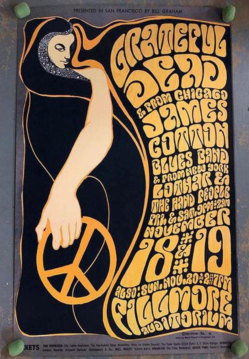 be73492f Grateful Dead James Cotton Fillmore SF 1966 Concert Poster | Etsy