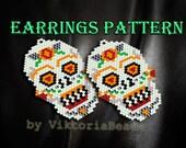 Calavera Sugar Skull earrings pattern peyote Brick Stitch dangle drop Death 39 s head Mexican Day of the dead Halloween children earrings