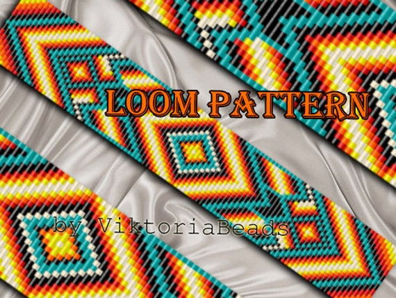 Bead Loom Pattern Bracelet Native American Square Stitch Etsy