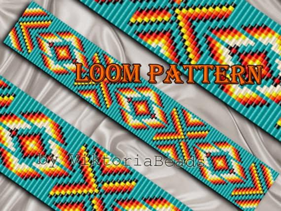 Bead Loom Pattern Bracelet Native American Square Stitch