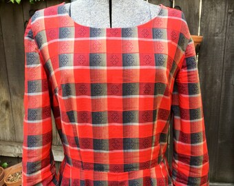 Lovely Vintage Red Plaid Dress