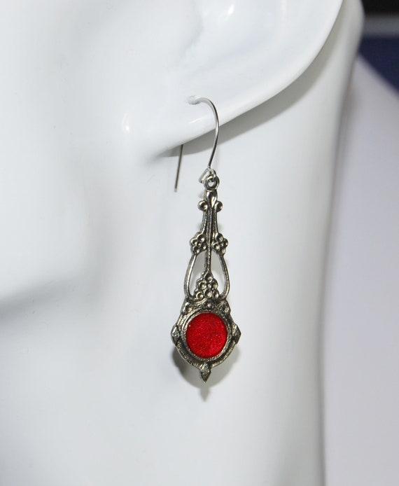 Edwardian Art Nouveau solid silver red enamel Flamenco ballroom dancing Tango Rumba themed style necklace pendant fob