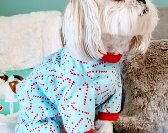 Blue Candy Cane Flannel Dog Pajamas