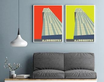 Large Manchester Art Print, Beetham Tower Poster, The Hilton Hotel, Manchester Gift, Manchester Wall Art, large wall art, A2, A1