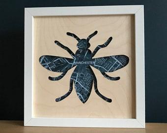 Manchester bee gift,  Manchester map laser cut plywood sign, Manchester art, Manchester wall art, Manchester gift 23cm x23cm unframed