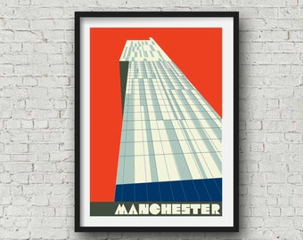Manchester Print -  The Beetham Tower, The Hilton Hotel, Manchester Wall Art, Manchester Poster, vintage red, A4, 8X10