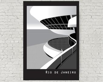 Rio de Janeiro Black and White contemporary architecture art print, Oscar Niemeyer Niteroi Contemporary Art Museum, Rio, Brazil A4, 8 x 10