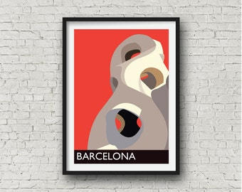 Barcelona Gaudi City Print in red, Barcelona Wall Art, Spanish related gift, European destination art, A4, 8 x 10 inches