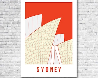 Sydney Opera House Print in Red, Sydney art print, Australia art, Sydney related gift, A4, 8 x 10 inch print