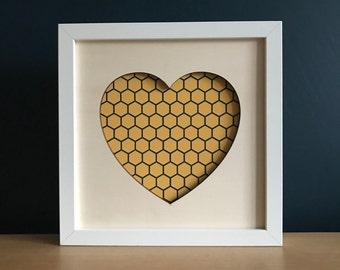 Love Heart Wall Art, laser cut plywood art gift,  heart art and honeycomb print unframed gift 23x23cm, heart wall decor, heart art print