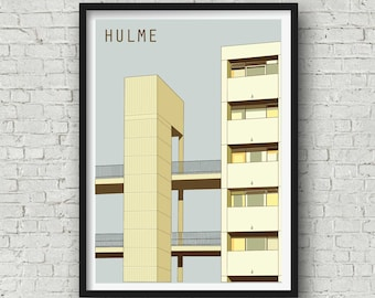 A3 Manchester Print, The Hulme Crescents, Manchester Wall Art