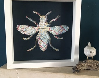 Manchester bee gift hand-painted,  Manchester map laser cut plywood sign, Manchester art, Manchester wall art, Manchester gift 23cm x23cm