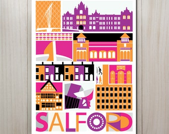 Manchester print, Salford Art Print in pink, Salford art poster, Media City, Imperial War Museum, Lowry, A4 or 8 x 10 inches