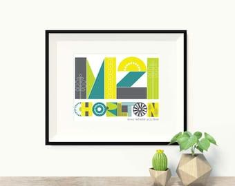 Manchester wall art, M21 Chorlton Print in 2 colourways, Chorlton Postcode Print, M21 art print, A3 print