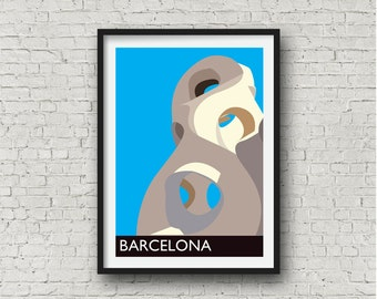Barcelona Gaudi City Print in blue, Barcelona Wall Art, Spanish related gift, European destination art, A4 or 8 x 10 inches