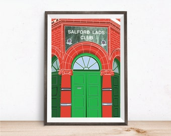 Manchester Print, Salford Lads Club Poster, The Smiths print, Manchester Music Poster, Manchester Wall Art, Manchester Gifts