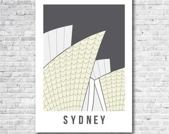 Sydney Opera House Print in Grey, Sydney art print, Australia art, Sydney related gift, A4, 8 x 10 inch print