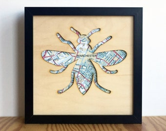 Manchester bee gift,  Manchester map laser cut plywood sign, Manchester art, Manchester wall art, Manchester gift 23cm x23cm