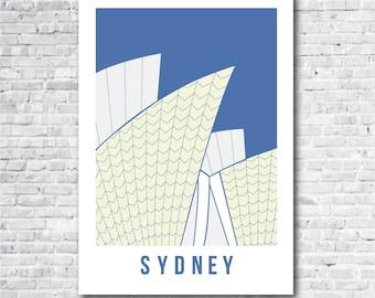 Sydney Opera House Print in 3 colourways, Sydney art print, Australia art, Sydney related gift, A3, 11 x 14 inch print