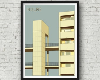 A4 Manchester Print, The Hulme Crescents, Manchester Wall Art