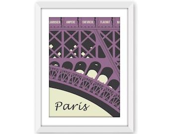 Paris Art Print in purple, Paris Eiffel Tower digital wall art, Eiffel Tower poster, Paris decor, Paris related gift, A4, 8 x 10 print