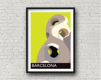 Barcelona Gaudi City Print in yellow, Barcelona Wall Art, Spanish related gift, European destination art, A3, 11 x 14 inches