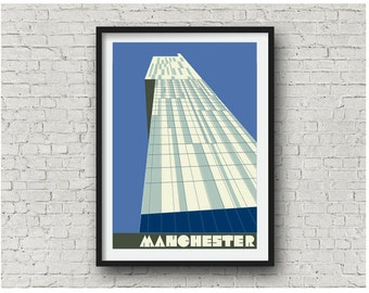 Manchester Beetham Tower in Blueberry / Manchester Hilton Hotel Print, A4, 8x10 inch print