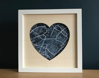 Love Heart Manchester Map Gift,  Manchester map laser cut heart shape plywood sign, Manchester art, Manchester unframed gift 23x23cm