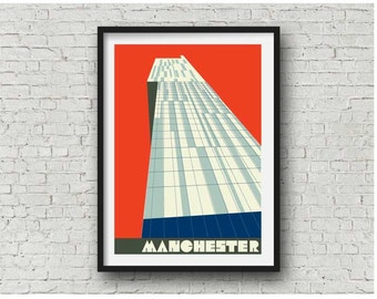 Manchester Beetham Tower Art Print in 4 colourways, Manchester Hilton Hotel Print, Manchester Art Poster, Manchester Gift A3, 11 x 14 print