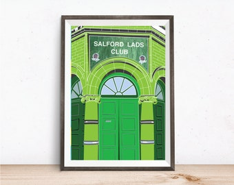 Manchester print, Salford Lads Club Art Print, Green colourway, Smiths related art print, Manchester music related gift, A4 and A3