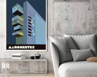 Large Manchester Art Print, Civil Justic Centre Poster,  Manchester Gift, Manchester Wall Art, large wall art, A2, A1